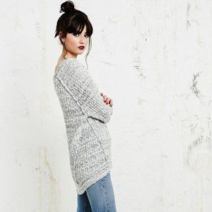 Free People Star Dune Gray Marled Knit Sweater